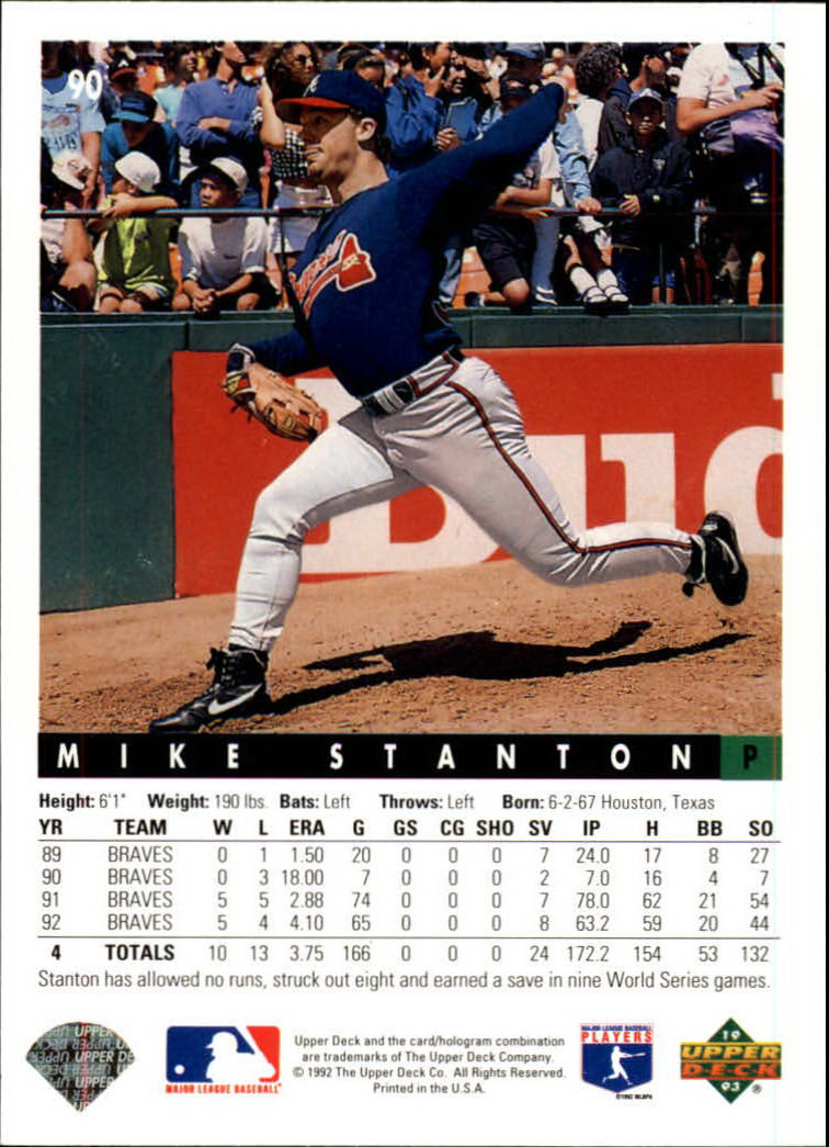 1993 Upper Deck #90 Mike Stanton back image