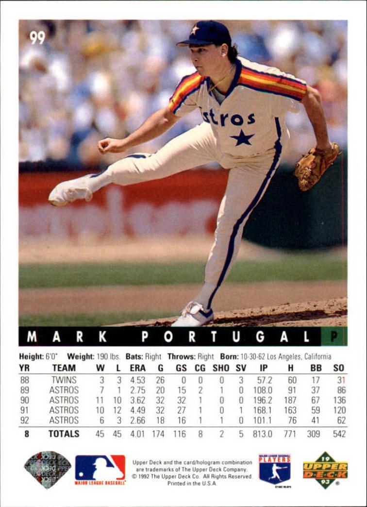 1993 Upper Deck #99 Mark Portugal back image