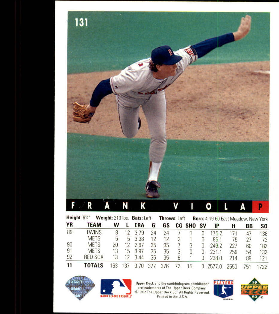 1993 Upper Deck #131 Frank Viola back image