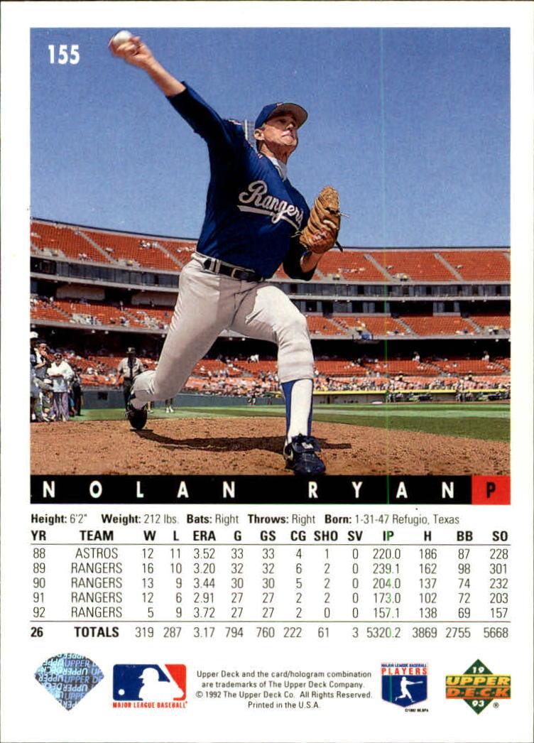 1993 Upper Deck #155 Nolan Ryan back image