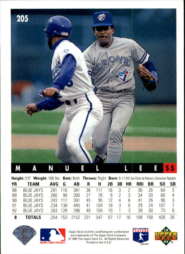 1993 Upper Deck #205 Manuel Lee back image