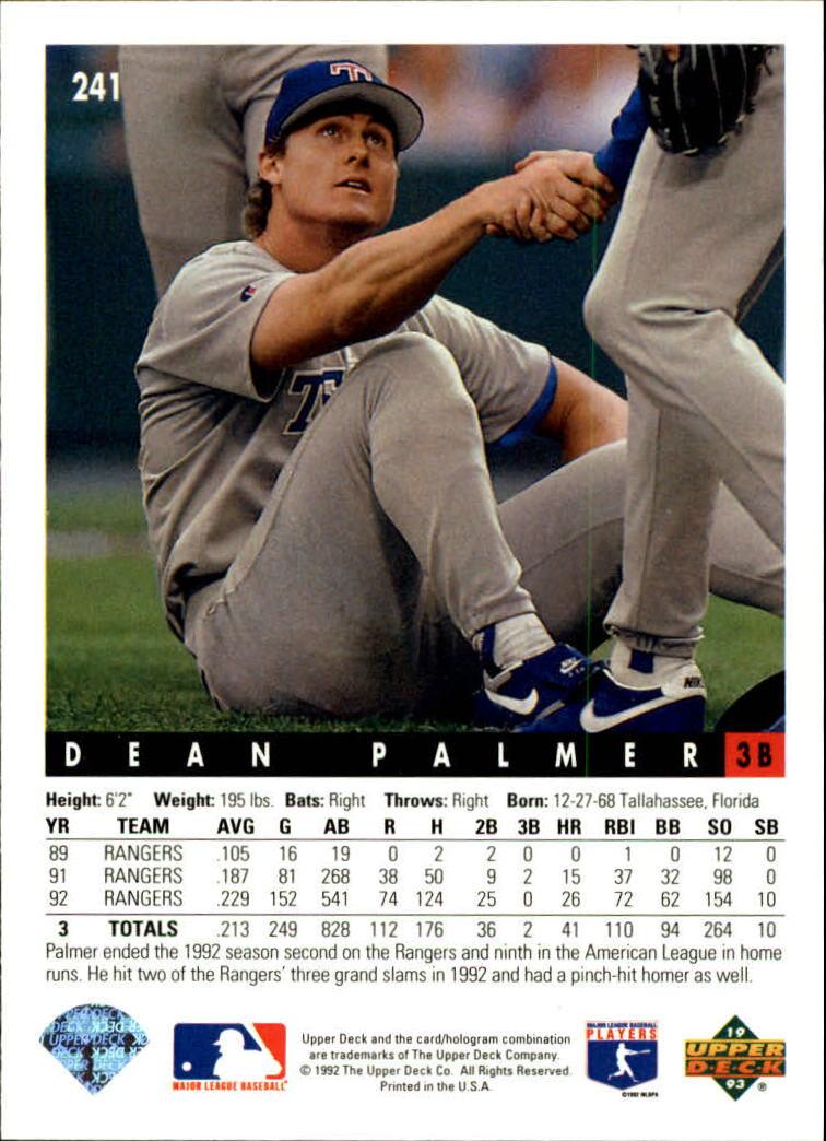 1993 Upper Deck #241 Dean Palmer back image