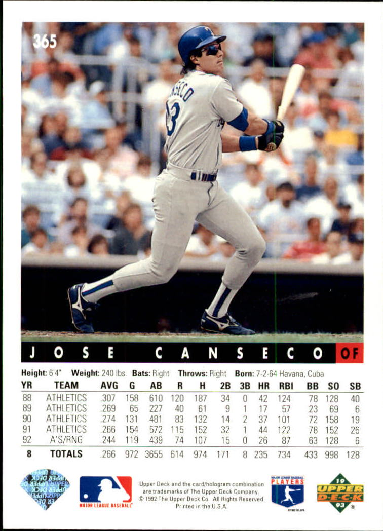 1993 Upper Deck #365 Jose Canseco back image
