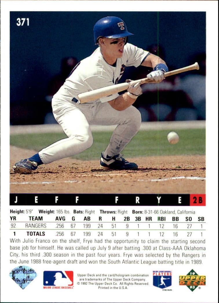 1993 Upper Deck #371 Jeff Frye back image