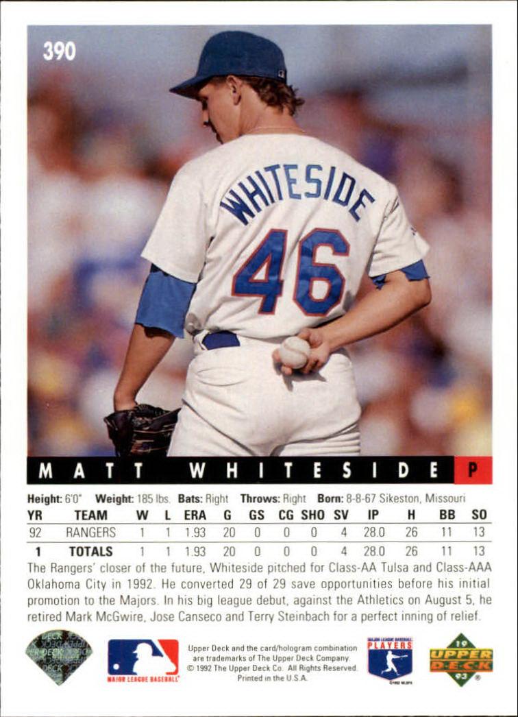 1993 Upper Deck #390 Matt Whiteside RC back image