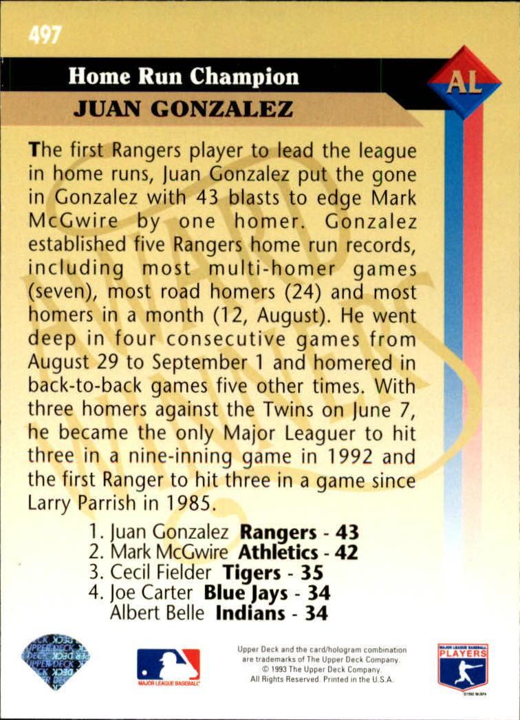 1993 Upper Deck #497 Juan Gonzalez AW back image