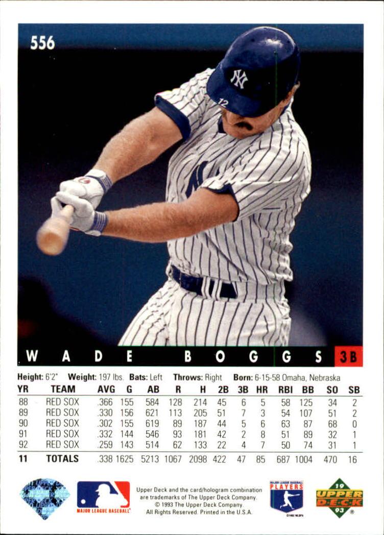 1993 Upper Deck #556 Wade Boggs back image