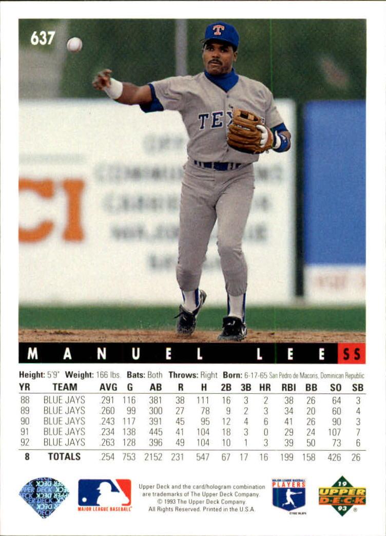1993 Upper Deck #637 Manuel Lee back image