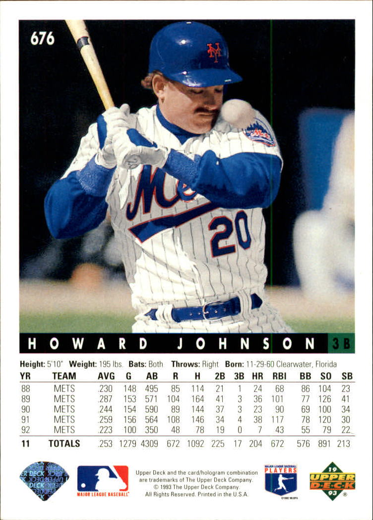 1993 Upper Deck #676 Howard Johnson back image