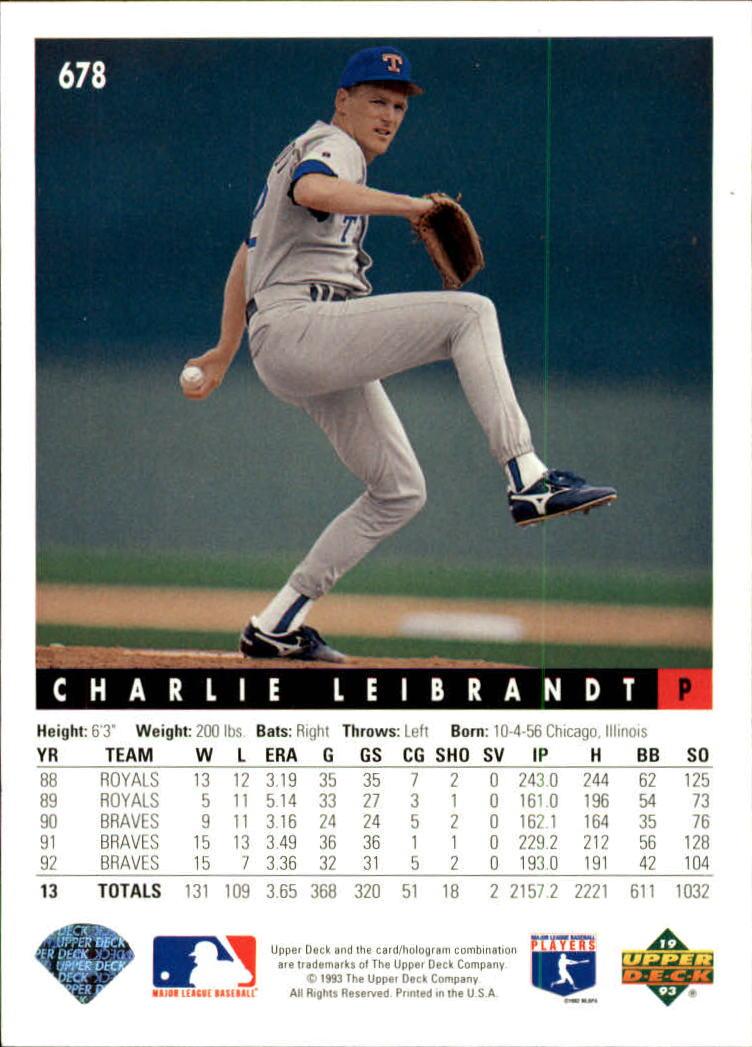 1993 Upper Deck #678 Charlie Leibrandt back image