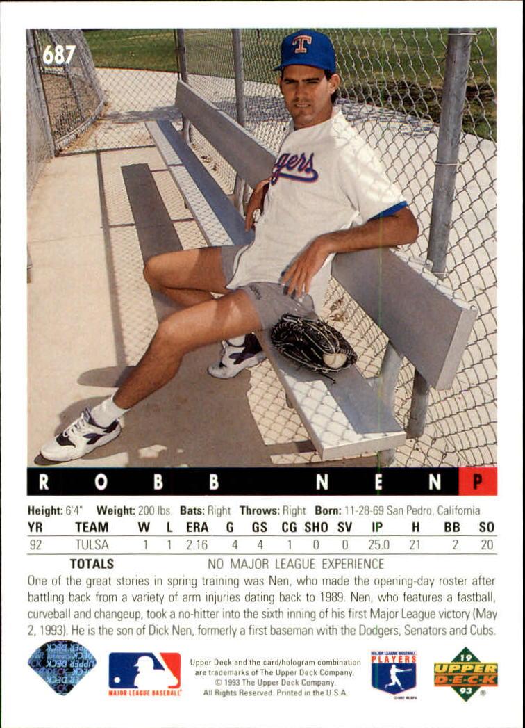 1993 Upper Deck #687 Robb Nen back image