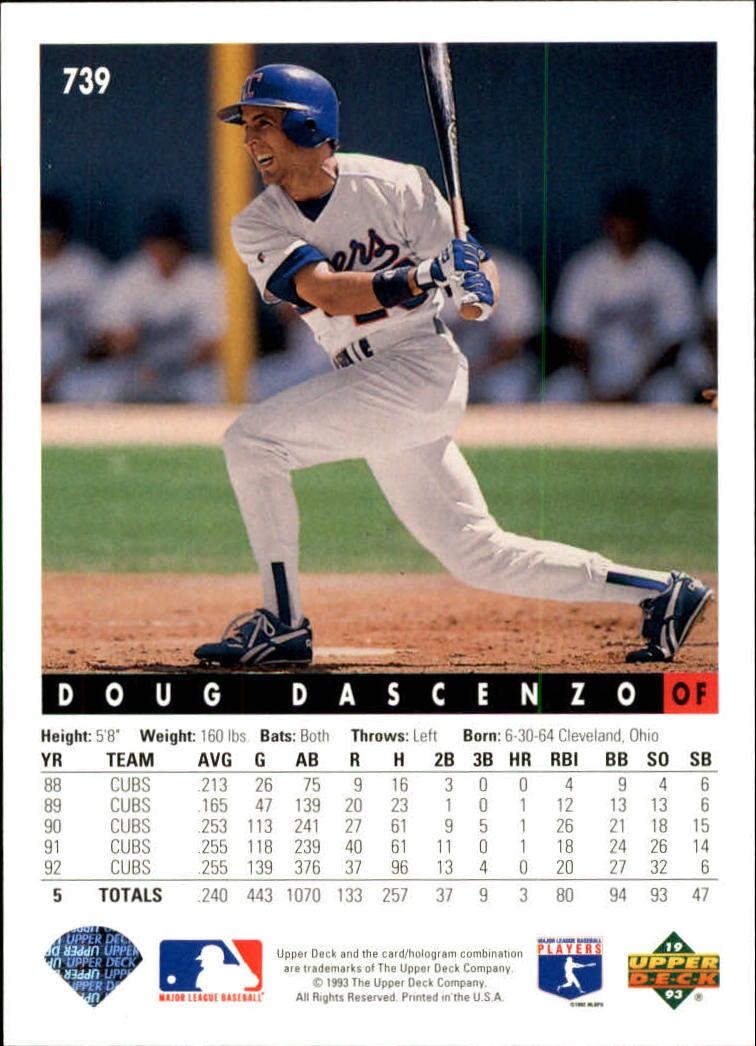 1993 Upper Deck #739 Doug Dascenzo back image