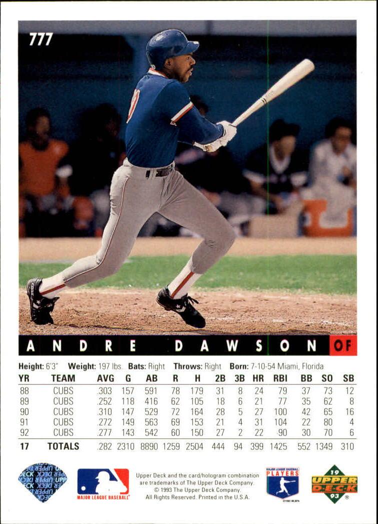 1993 Upper Deck #777 Andre Dawson back image