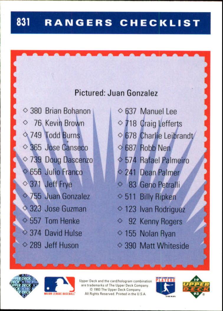 1993 Upper Deck #831 Juan Gonzalez TC back image