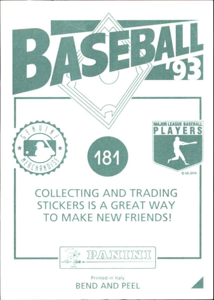 1993 Panini Stickers #181 Sid Bream back image