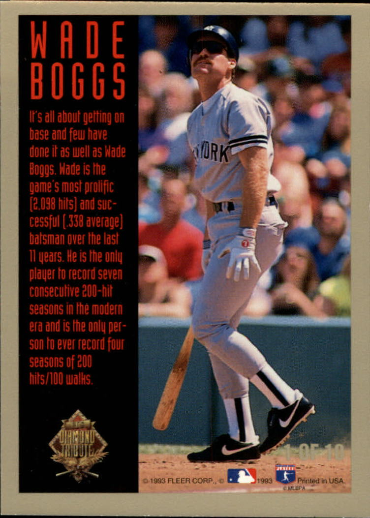 1993 Fleer Final Edition Diamond Tribute #1 Wade Boggs back image