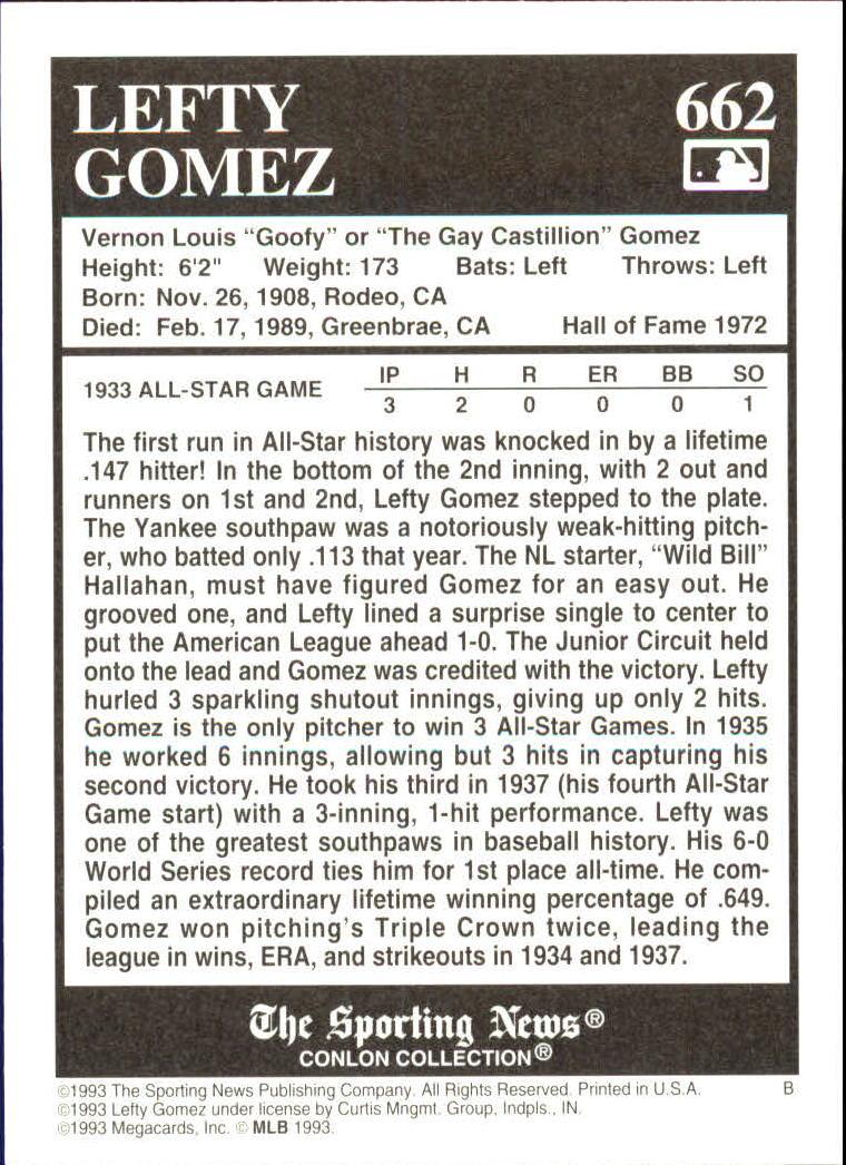 1993 Conlon TSN #662 Lefty Gomez back image