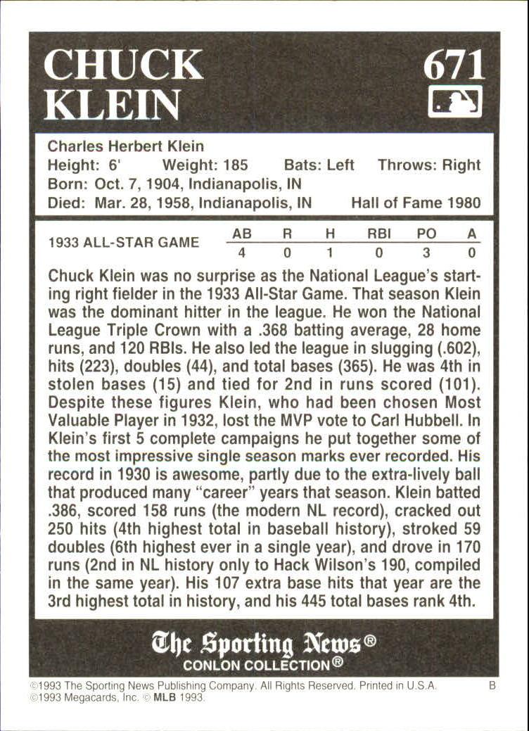 1993 Conlon TSN #671 Chuck Klein back image