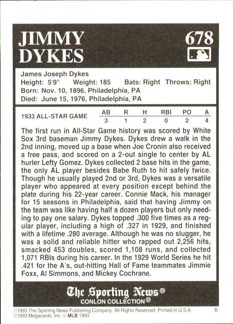 1993 Conlon TSN #678 Jimmy Dykes back image