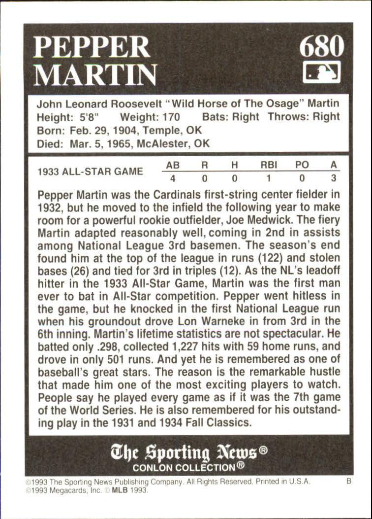 1993 Conlon TSN #680 Pepper Martin back image
