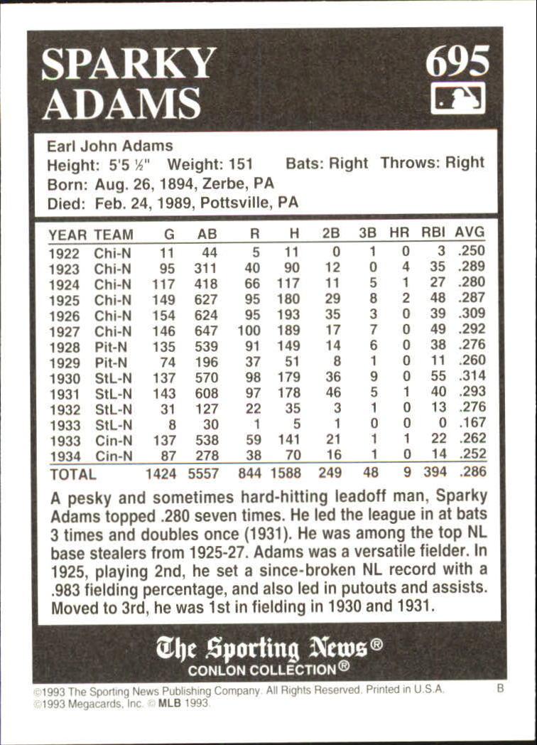 1993 Conlon TSN #695 Sparky Adams back image
