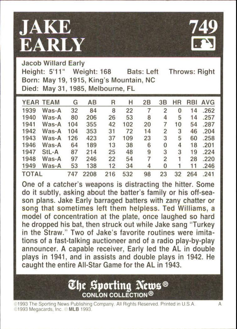 1993 Conlon TSN #749 Jake Early back image