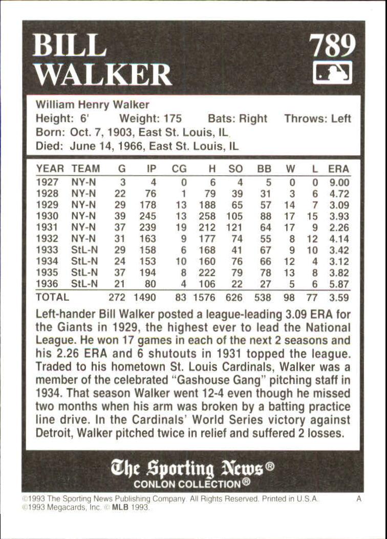 1993 Conlon TSN #789 Bill Walker back image