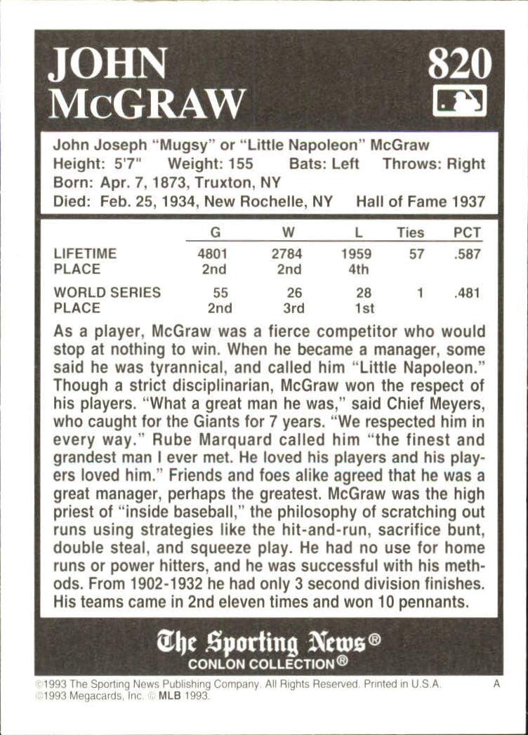 1993 Conlon TSN #820 John McGraw back image