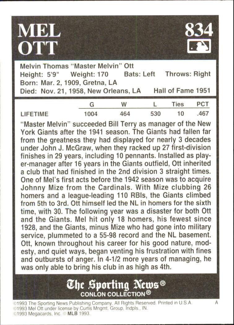1993 Conlon TSN #834 Mel Ott back image