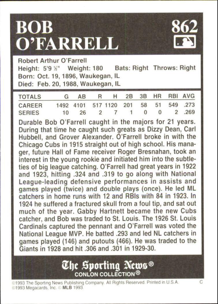 1993 Conlon TSN #862 Bob O'Farrell back image