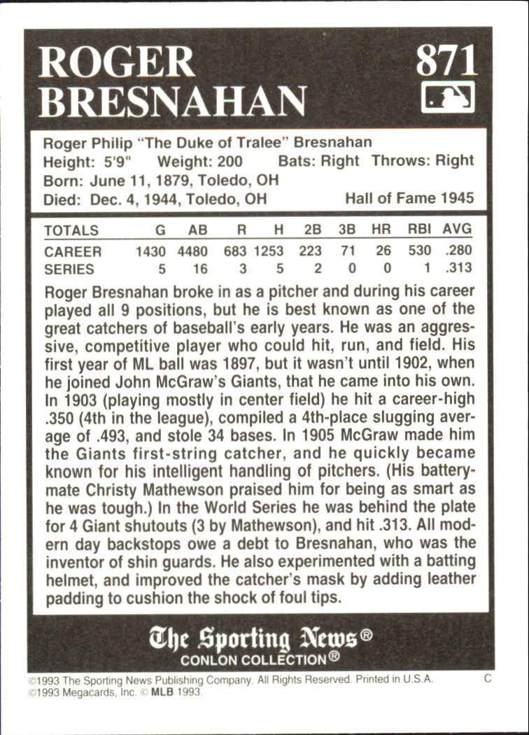 1993 Conlon TSN #871 Roger Bresnahan back image