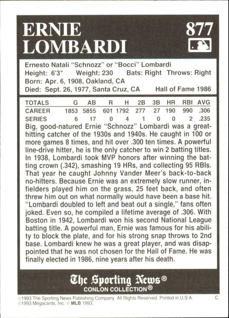 1993 Conlon TSN #877 Ernie Lombardi back image