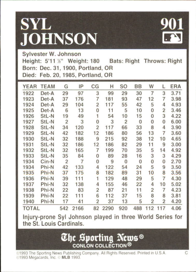 1993 Conlon TSN #901 Syl Johnson back image
