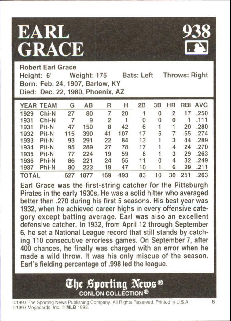 1993 Conlon TSN #938 Earl Grace back image