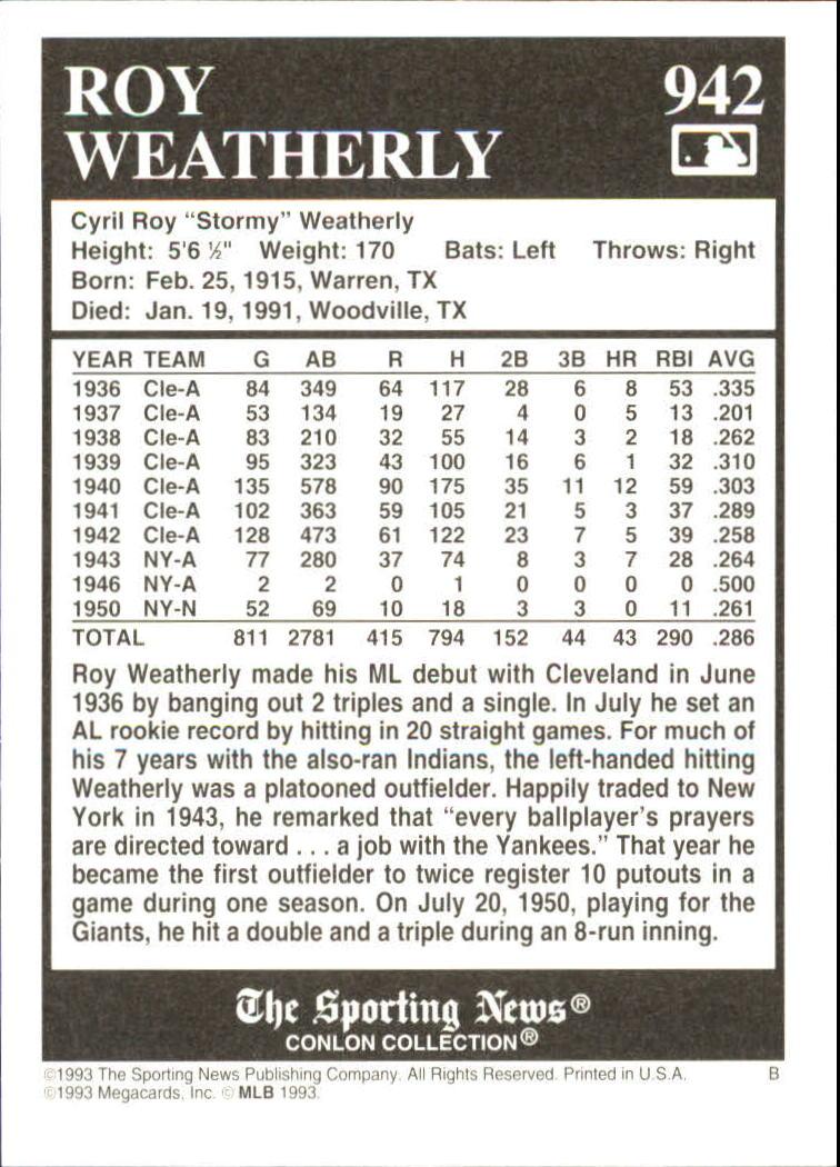 1993 Conlon TSN #942 Roy Weatherly back image