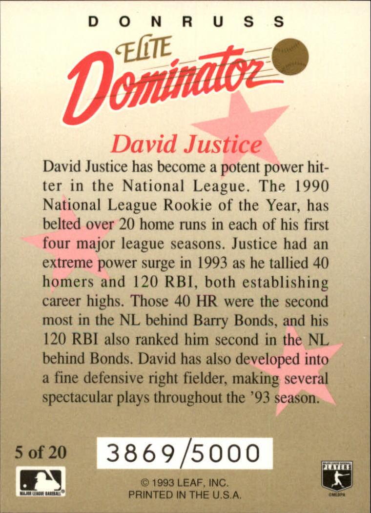 1993 Donruss Elite Dominators #5 Dave Justice back image