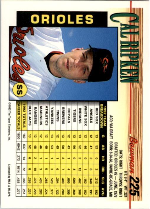1993 Bowman #225 Cal Ripken back image