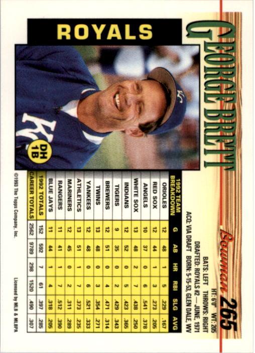 1993 Bowman #265 George Brett back image