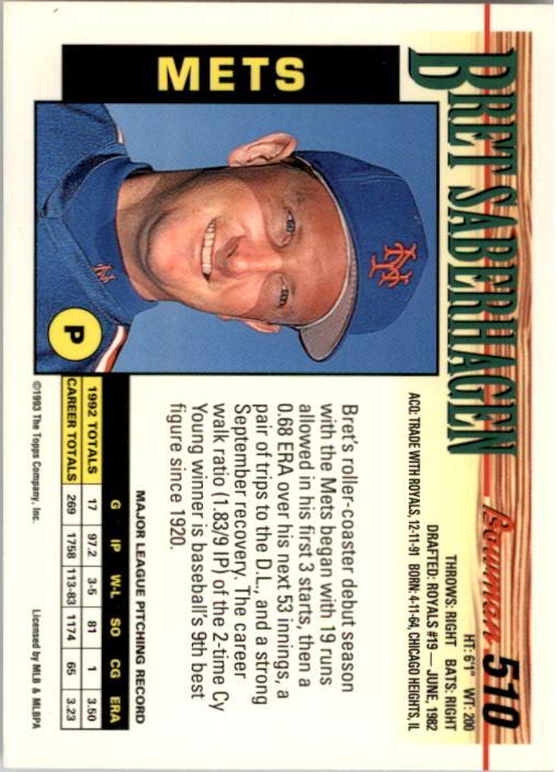1993 Bowman #510 Bret Saberhagen back image