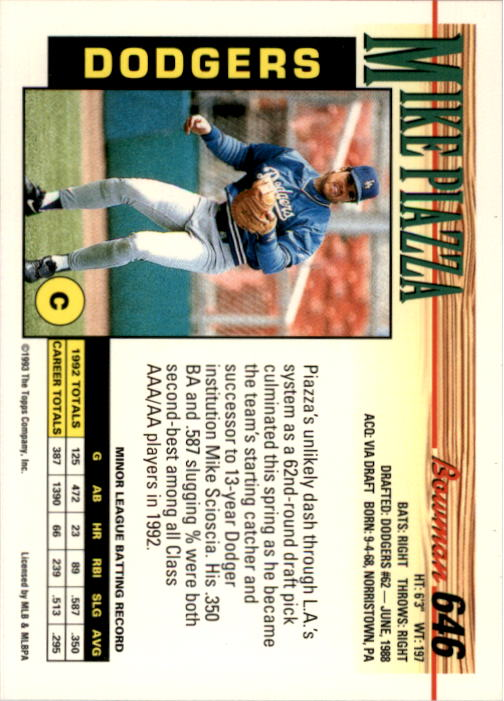 1993 Bowman #646 Mike Piazza back image
