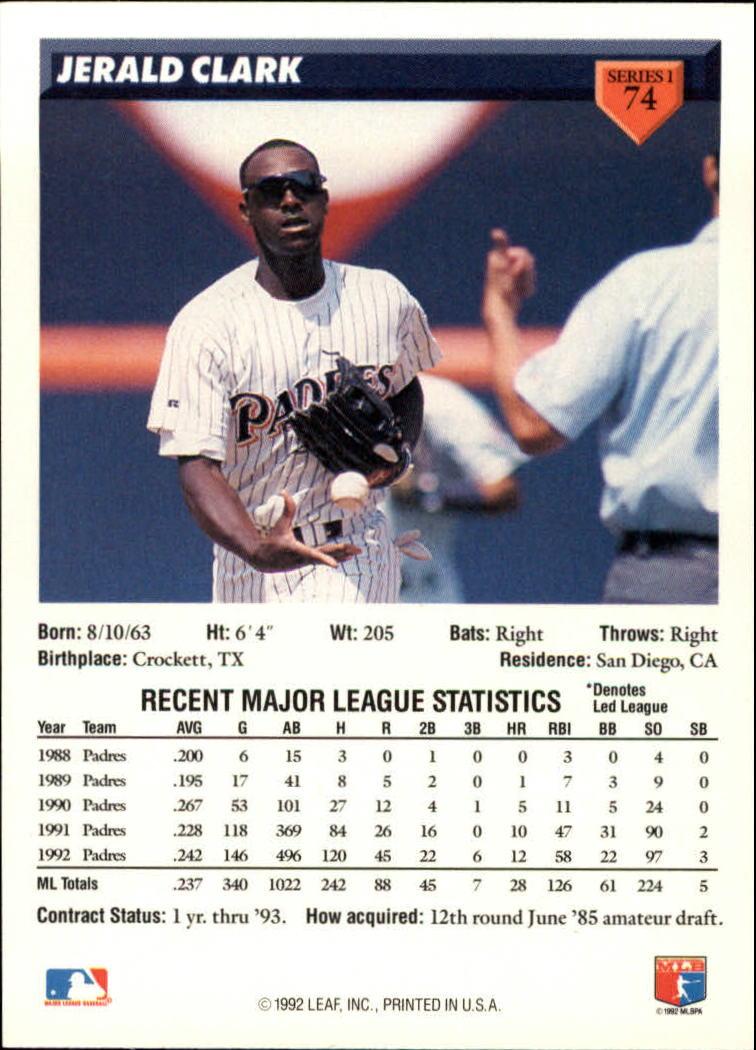 1993 Donruss #74 Jerald Clark back image