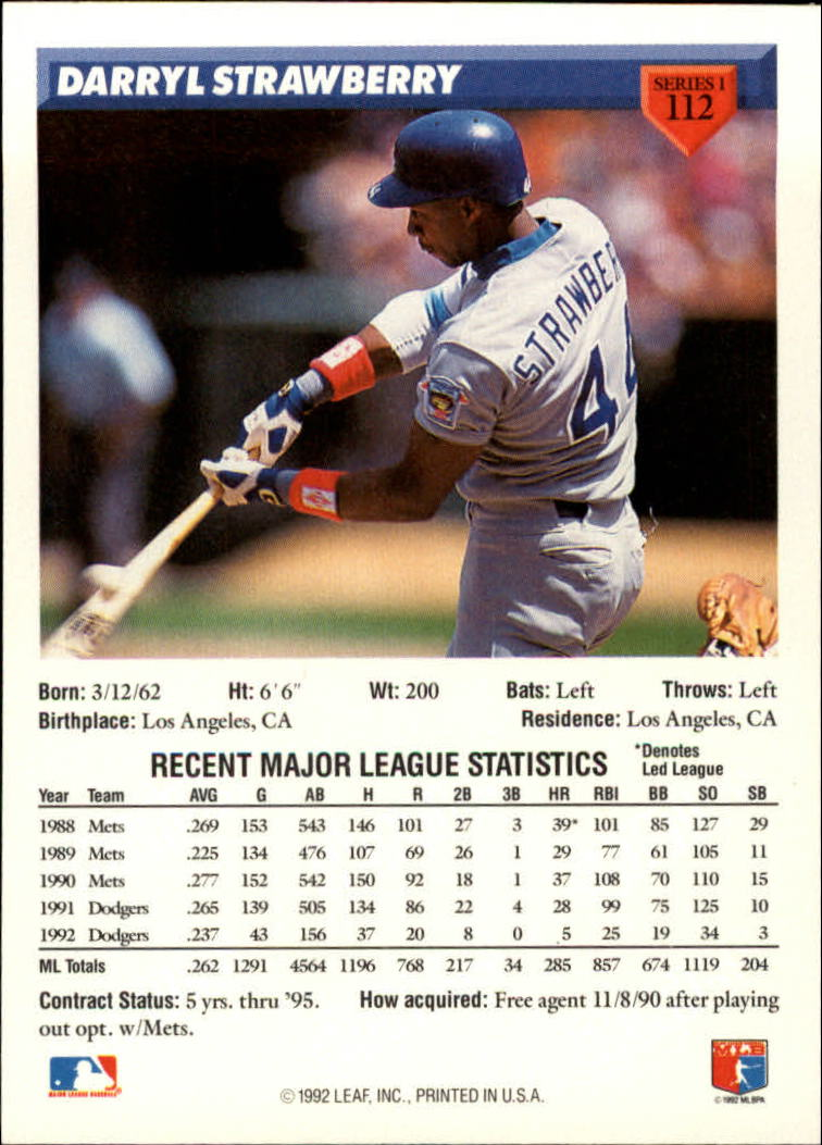 1993 Donruss #112 Darryl Strawberry back image