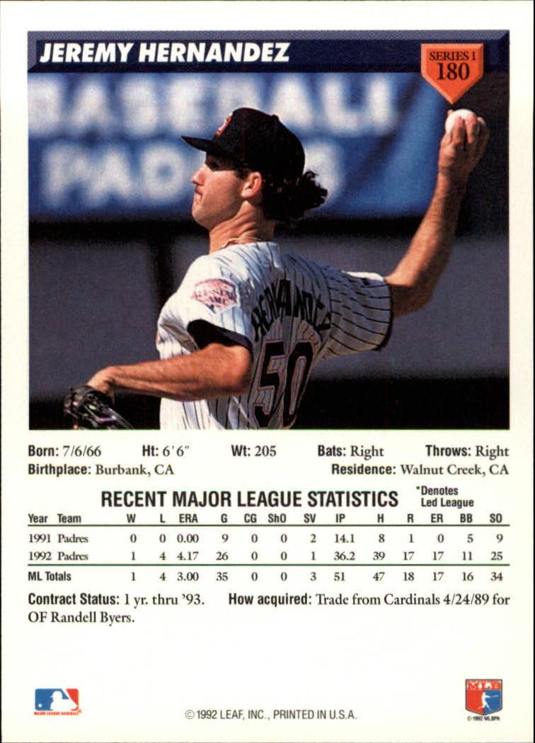 1993 Donruss #180 Jeremy Hernandez back image