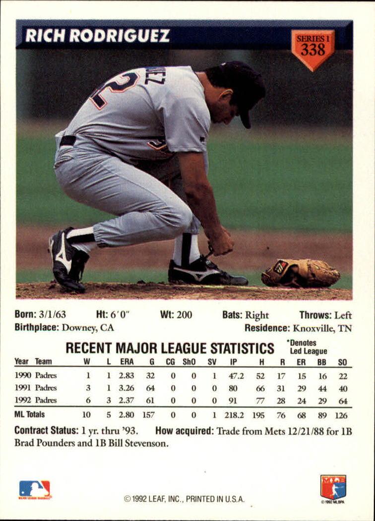 1993 Donruss #338 Rich Rodriguez back image