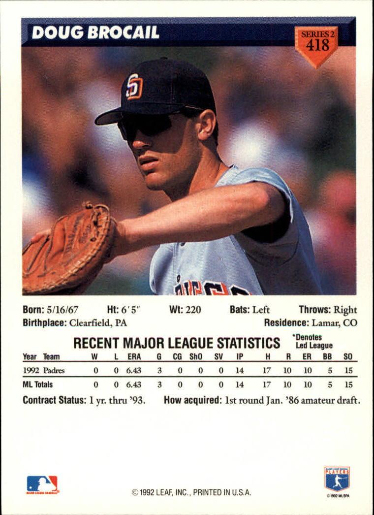 1993 Donruss #418 Doug Brocail back image