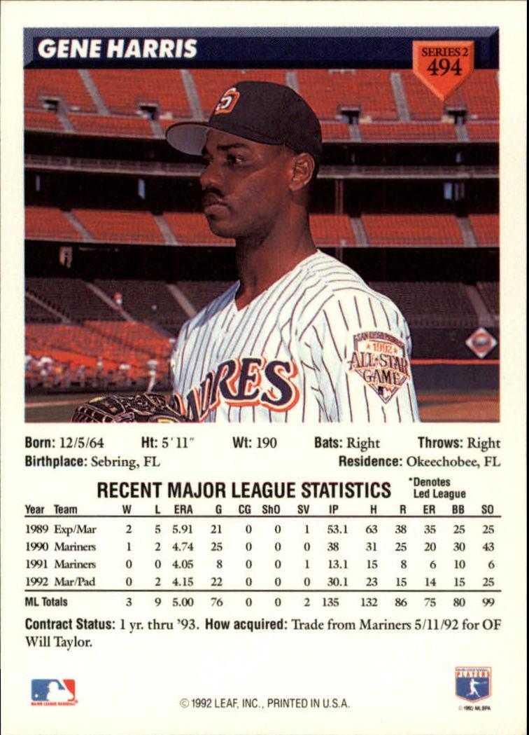 1993 Donruss #494 Gene Harris back image