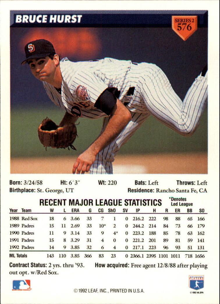 1993 Donruss #576 Bruce Hurst back image