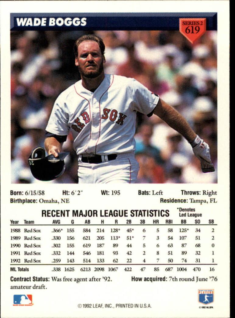 1993 Donruss #619 Wade Boggs back image