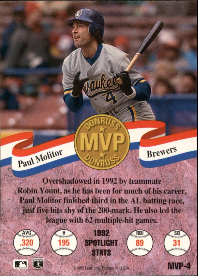 1993 Donruss MVPs #4 Paul Molitor back image