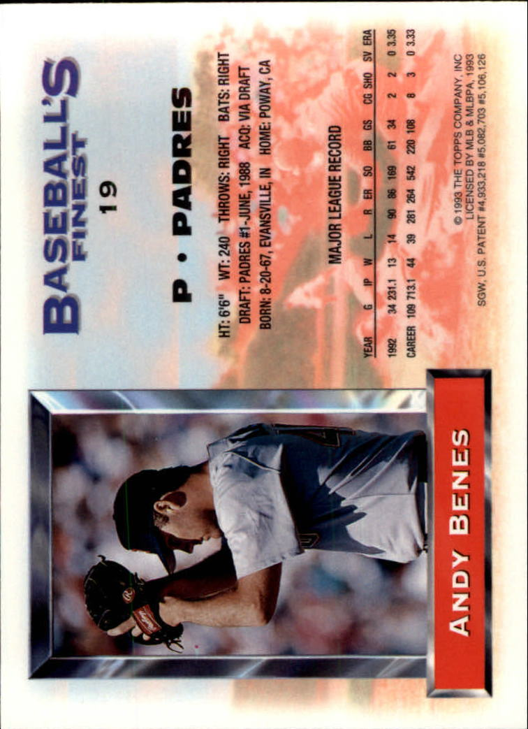1993 Finest #19 Andy Benes back image